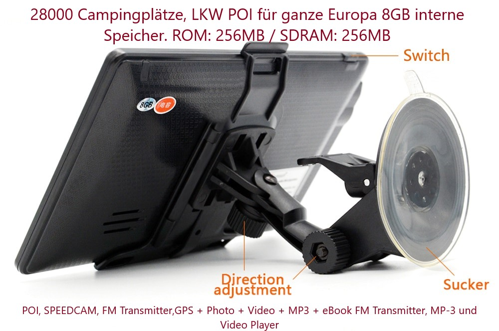 "7"" GPS Navigationssystem NAVI TMC funktion für LKW, PKW, BUS, WOHNMOBIL"