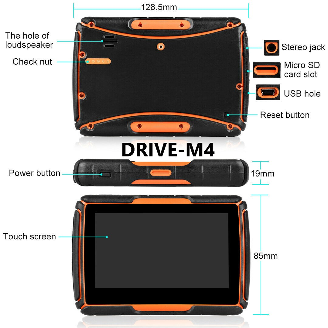 4.3  Zoll GPS Navigationsgerät Navi Drive-M4 Für Motorrad und PKW. wasserdichte.