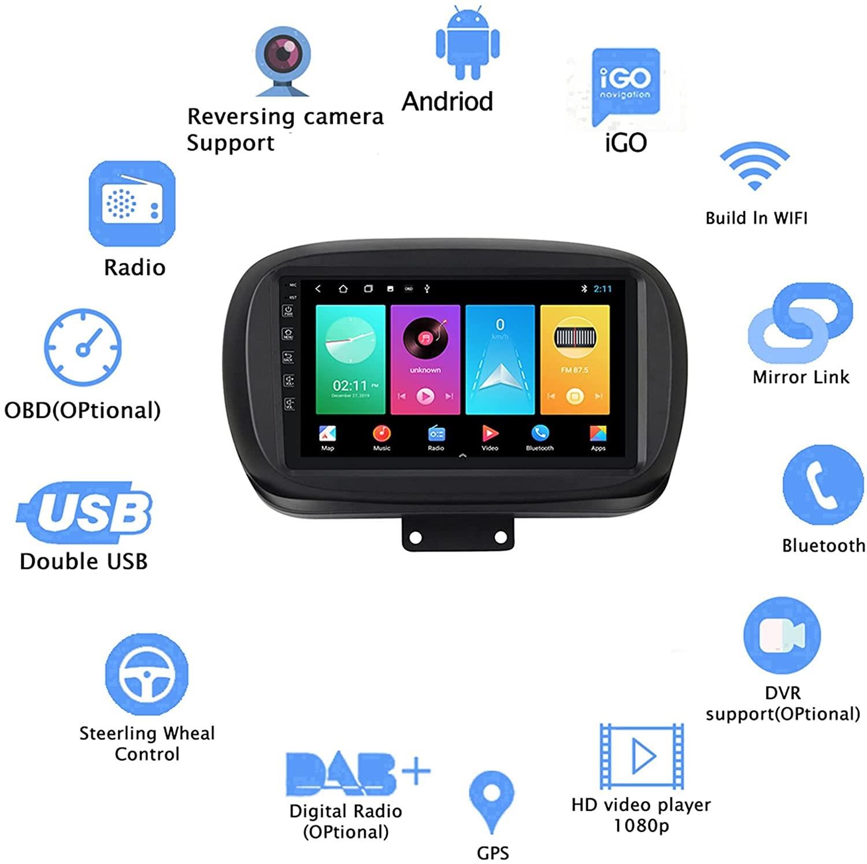 "9"" Touchscreen Android Autoradio Navigation GPS CarPlay für FIAT 500X 2014-2019  4GB RAM 64GB ROM"