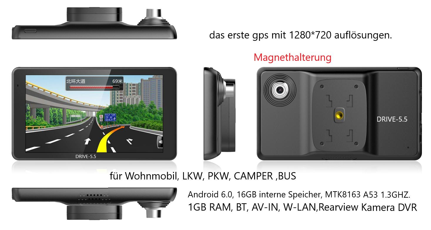 5.5 Zoll Android  GPS Navi Drive-5.5 mit Magnethalterung Für LKW, PKW,  Wohmobil  BT DVR