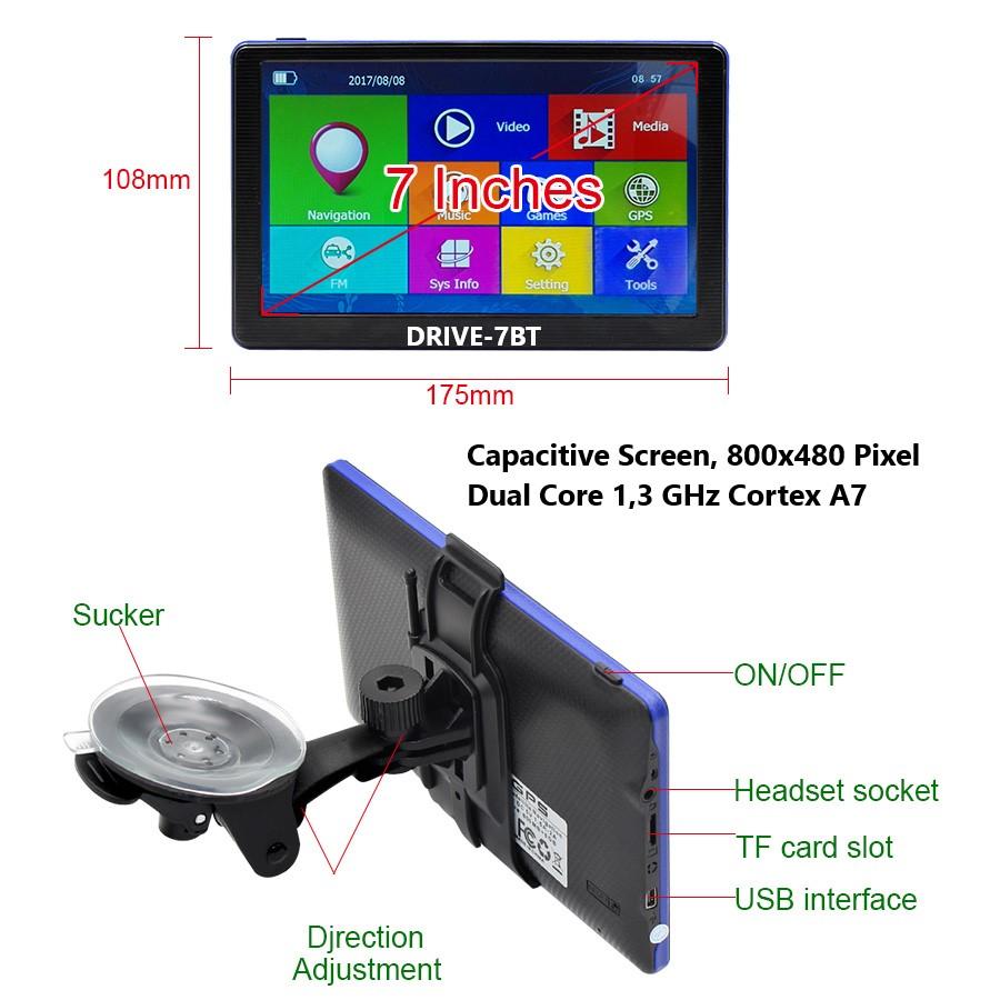 drivetech24 7 Zoll LKW, PKW, WOMO BUS GPS navi mit TMC funktion .Radar. BT