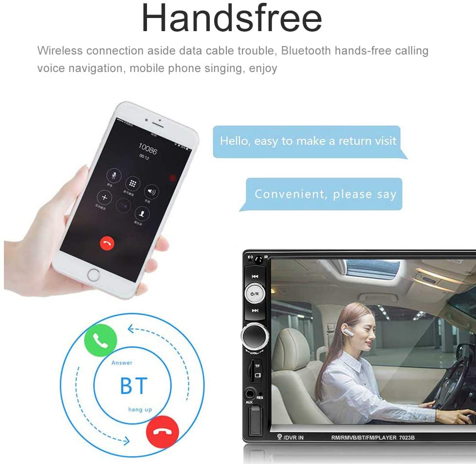 "7"" Autoradio Bluetooth MP5 USB SD AUX FM Radio 2 DIN Lenkradfernbedienung 1080P"