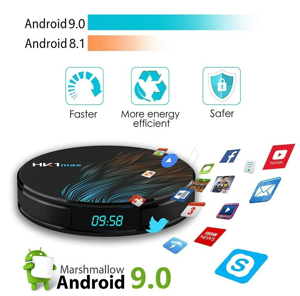 Android 9,0 Smart TV Box 4GB RAM 32GB Quad Core 2.4G/5G Wifi BT 4.0 Media Player