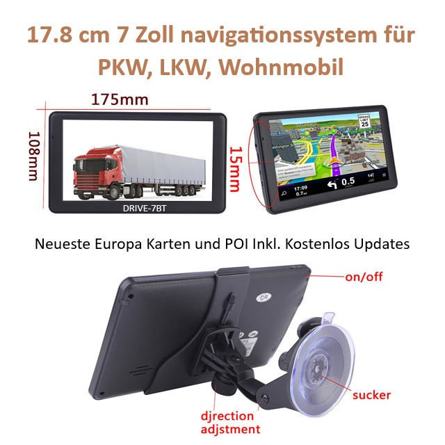 7 Zoll Navigationssystem GPS Navi mit TMC Verkehrsfunkempfänger LKW, PKW, WOMO BT  AV-IN