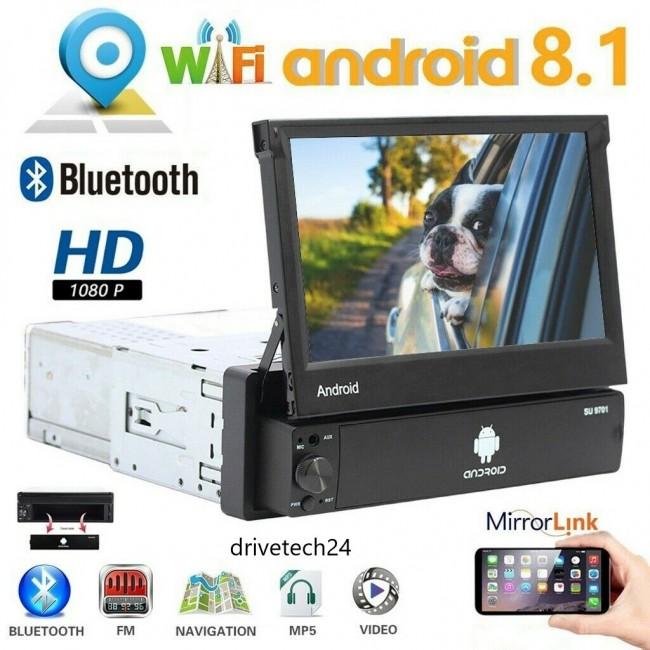 1 Din Autoradio Android 8.1 Autoradio mit 7 '' Touchscreen im Dash GPS Navigationskopf 1Din Bluetooth Video Player Abnehmbare Frontplatte/AUX/SWC/WiFi/USB/FM Radio/Bildschirmspiegel