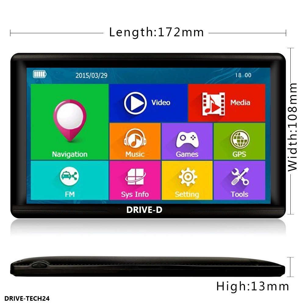 7 Zoll GPS Navigationsgerät DRIVE-D Mit Android System für Wohnmobil, LKW, PKW Kapazitiver Touchscreen