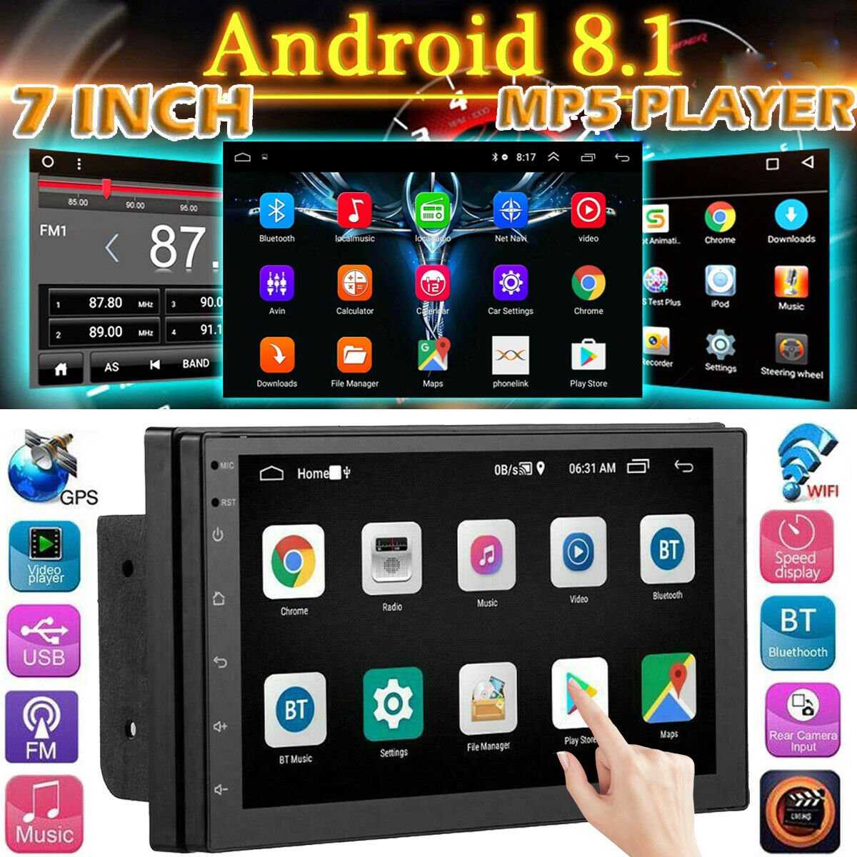 7 zoll  2 DIN android Autoradio Stereo GPS Navigation Doppel USB FM AUX MP5 Player Mirror link