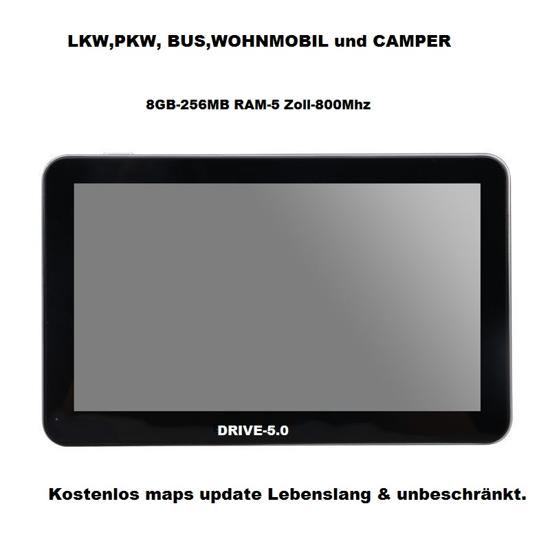 5 Zoll  GPS Navigationssystem DRIVE-5.0 TMC funktion für LKW, PKW, BUS, WOHNMOBIL