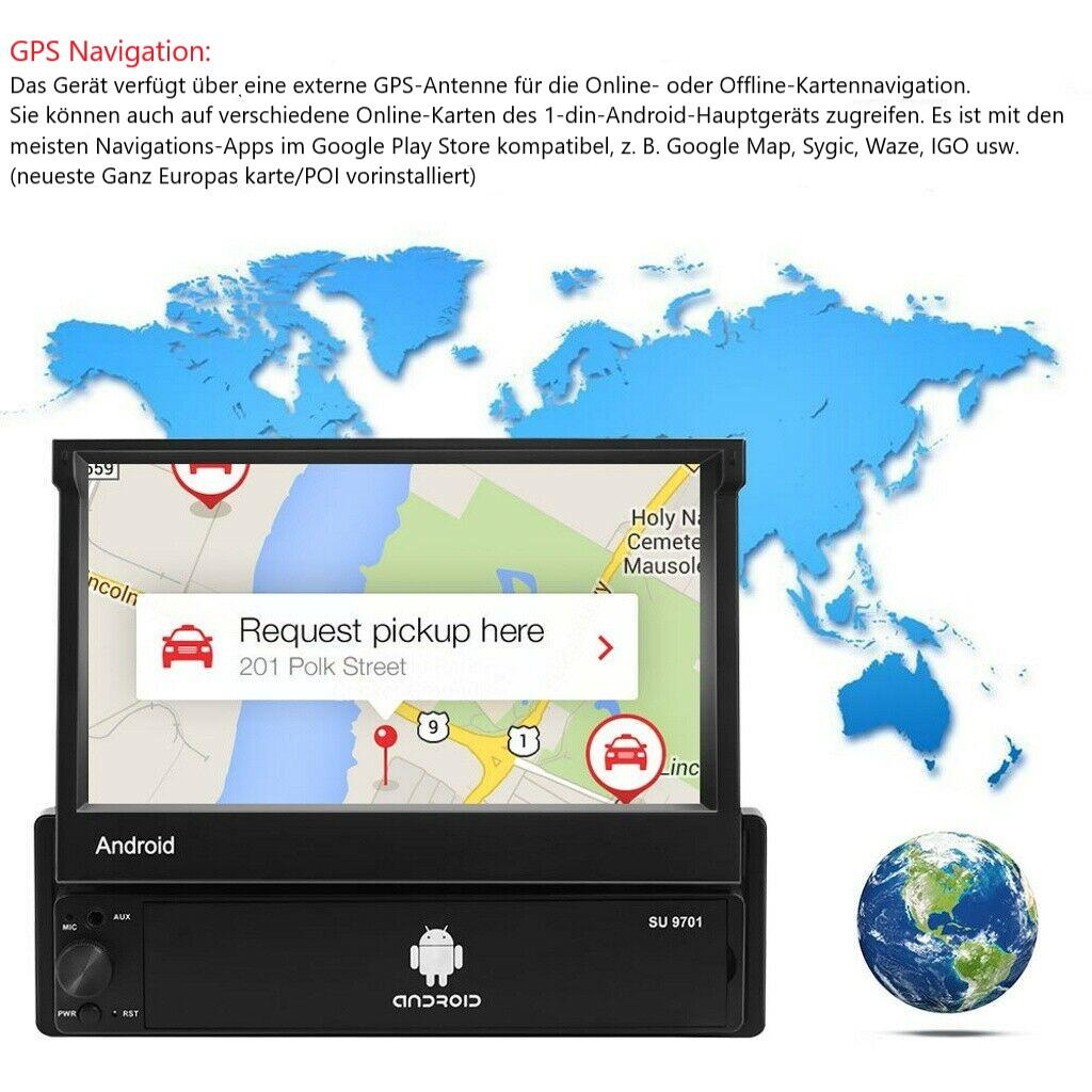 1 DIN 7'' Android 9.1 Autoradio mit Bluetooth GPS Navigation Wlan BT Mirror Link