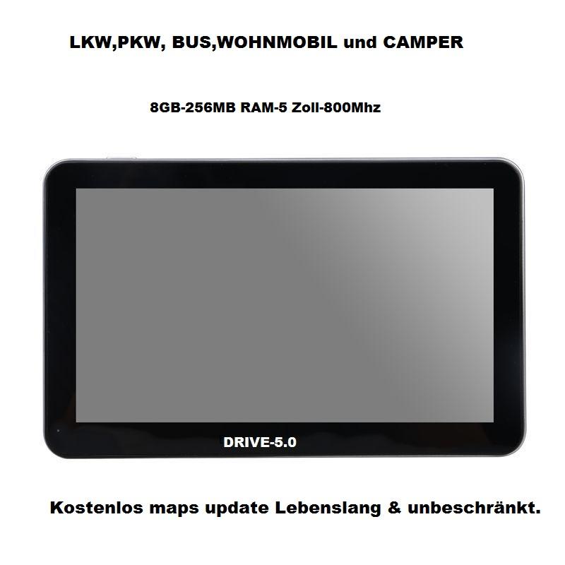 5 Zoll GPS Navigationssysteme Navi Drive-5.0 für LKW, PKW, WOHNMOBIL BUS. 256MB