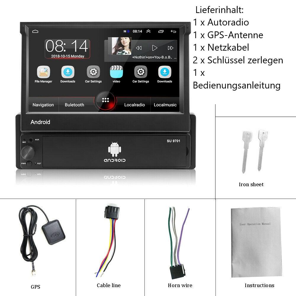 1 Din  Android  Autoradio mit 7 '' Touchscreen im Dash GPS Navigationskopf 1Din Bluetooth Video Player Abnehmbare Frontplatte/AUX/SWC/WiFi/USB/FM Radio/Bildschirmspiegel