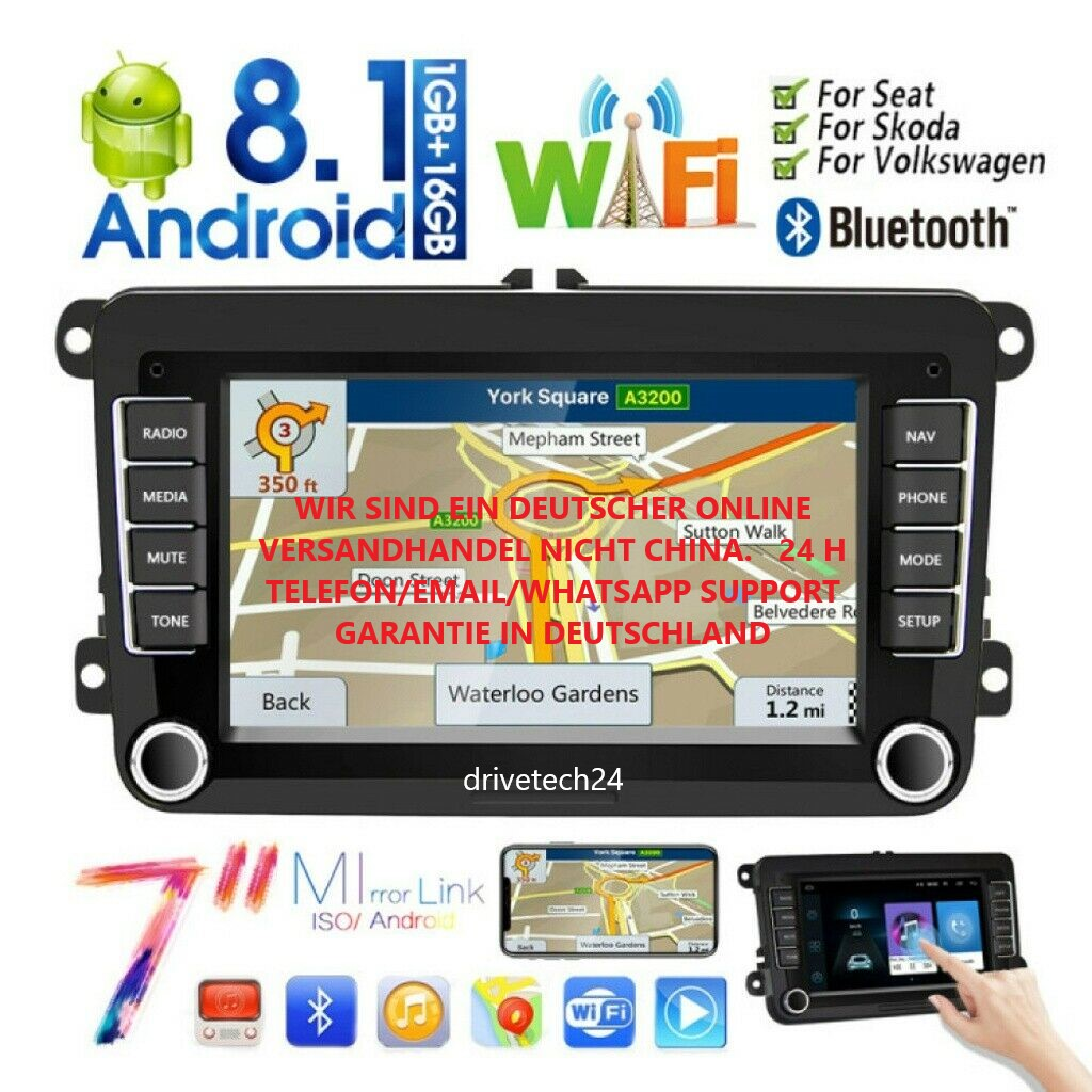 "7"" Android Autoradio GPS WIFI AUX USB Für VW Golf 5/6 Passat Touran Seat Skoda"