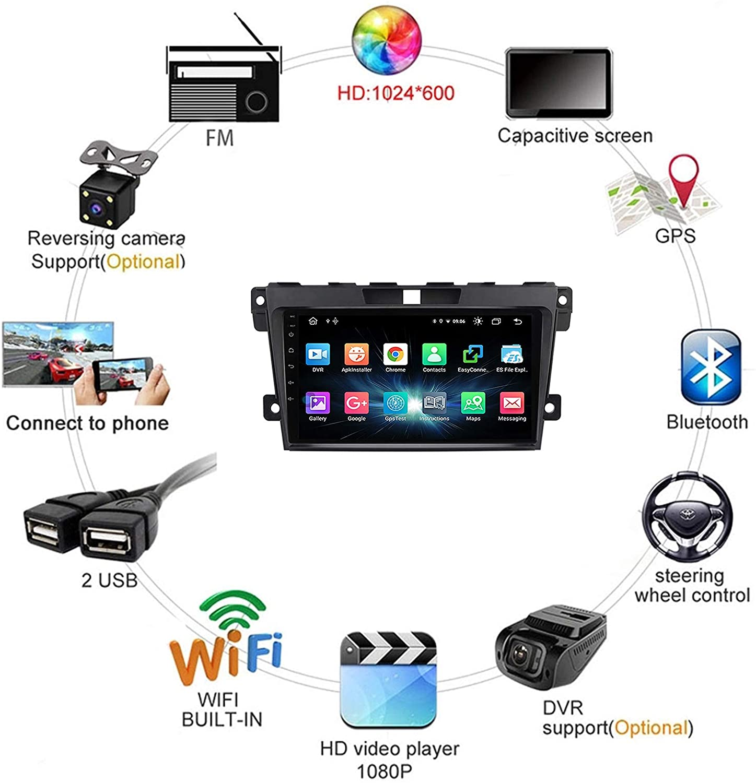 "9"" Touchscreen Android Autoradio Navigation GPS CarPlay für Mazda CX-7 2006-2015"