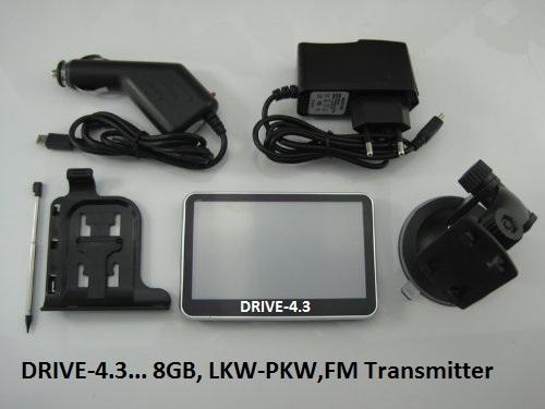 4.3 Zoll Navigationssystem GPS DRIVE-4.3 mit TMC Verkehrsfunkempfänger LKW, PKW, WOMO, BUS