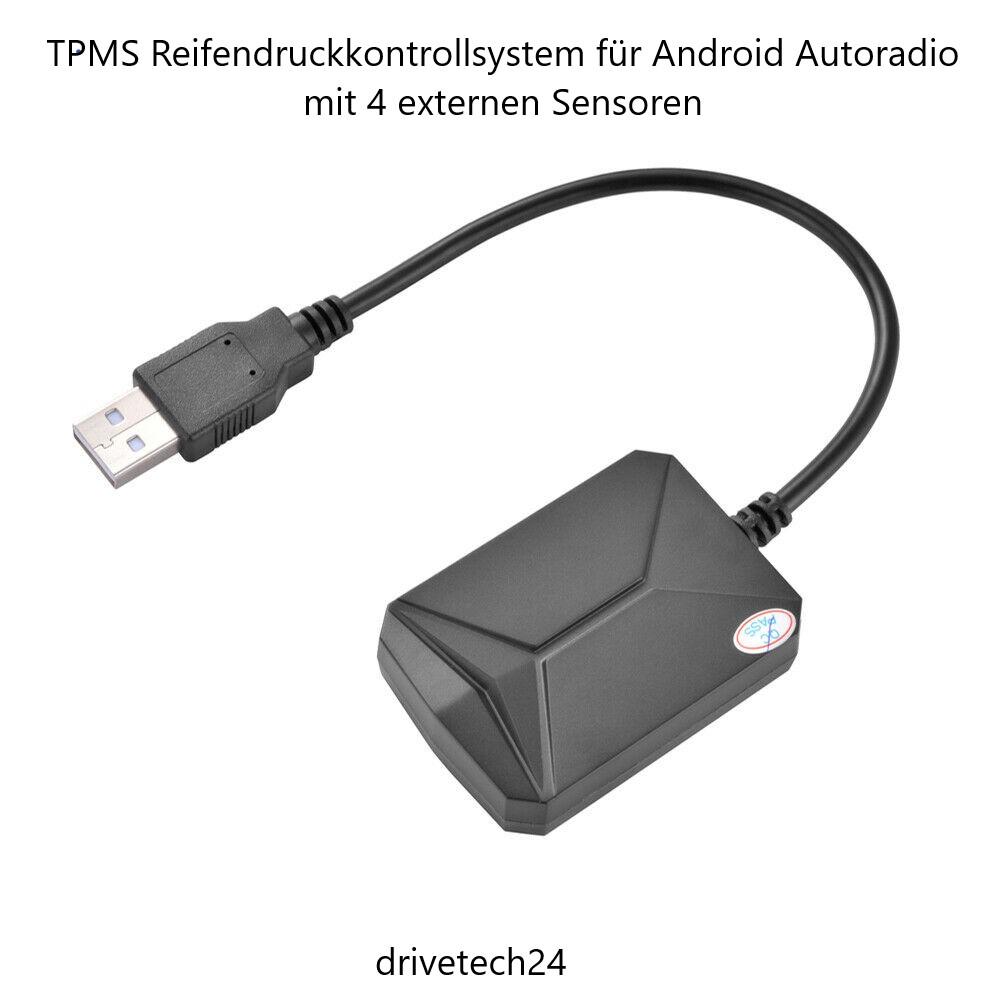 TPMS Reifendruckkontrollsystem für Android Autoradio mit 4 externen Sensoren